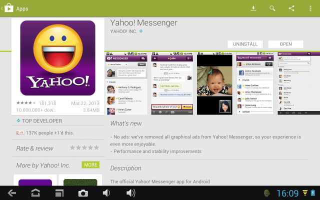 Yahoo Messenger in google Play