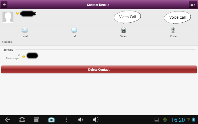 Android Yahoo Messenger Video Call