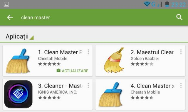 Cautare Clean Master in Google Play