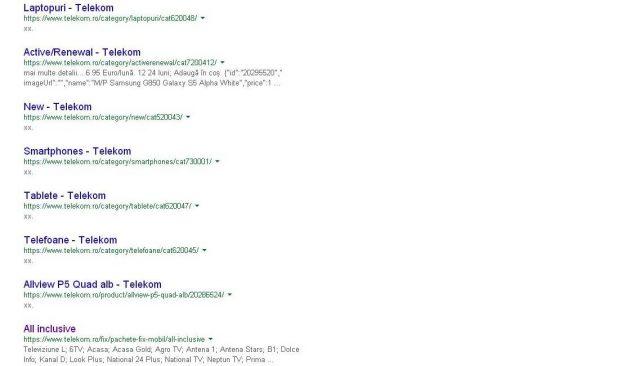 Cautare in Google Telekom.ro