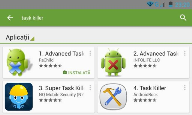 Cautare Task Killer in Google Play